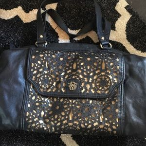 Jessica Simpson shoulder handbag black gold purse